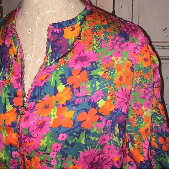 1e15d114c ZARA TRF~Multicolor Floral Bomber Jacket~M